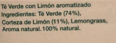 Té Verde Limón Hornimans - Ingredients