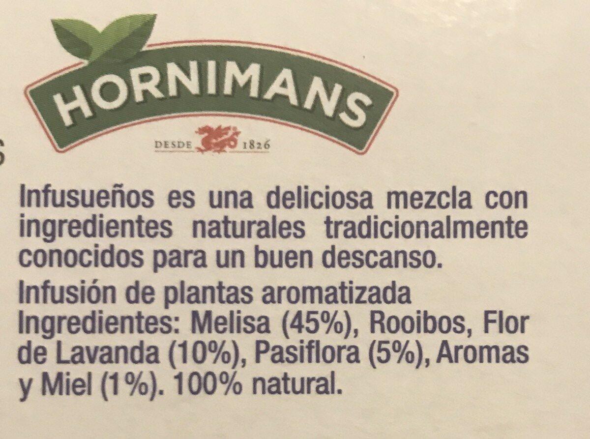 Infusueños Infusión De Pasiflora Lavanda y Miel Hornimans - Ingredientes