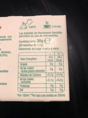 Hornimans - Bolsitas Té Verde, Guaraná Y Pina Me Funciona 20 X - Informació nutricional