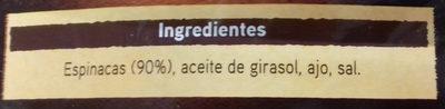 Espinacas al ajillo - Ingredientes