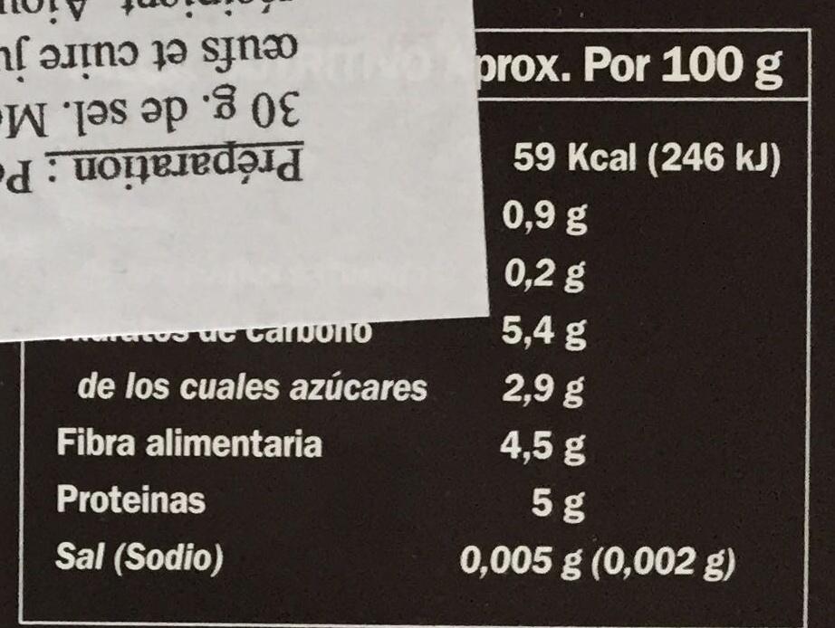 Guisantes extrafinos - Información nutricional - fr