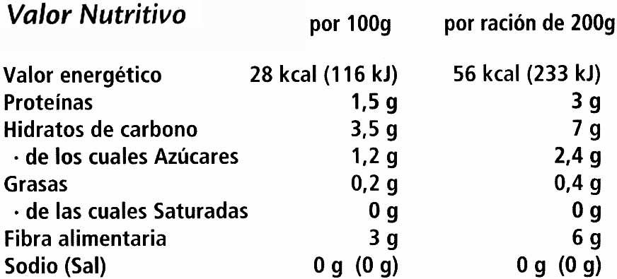 """Judías verdes redondas troceadas congeladas """"Findus"""" - Información nutricional - es"""