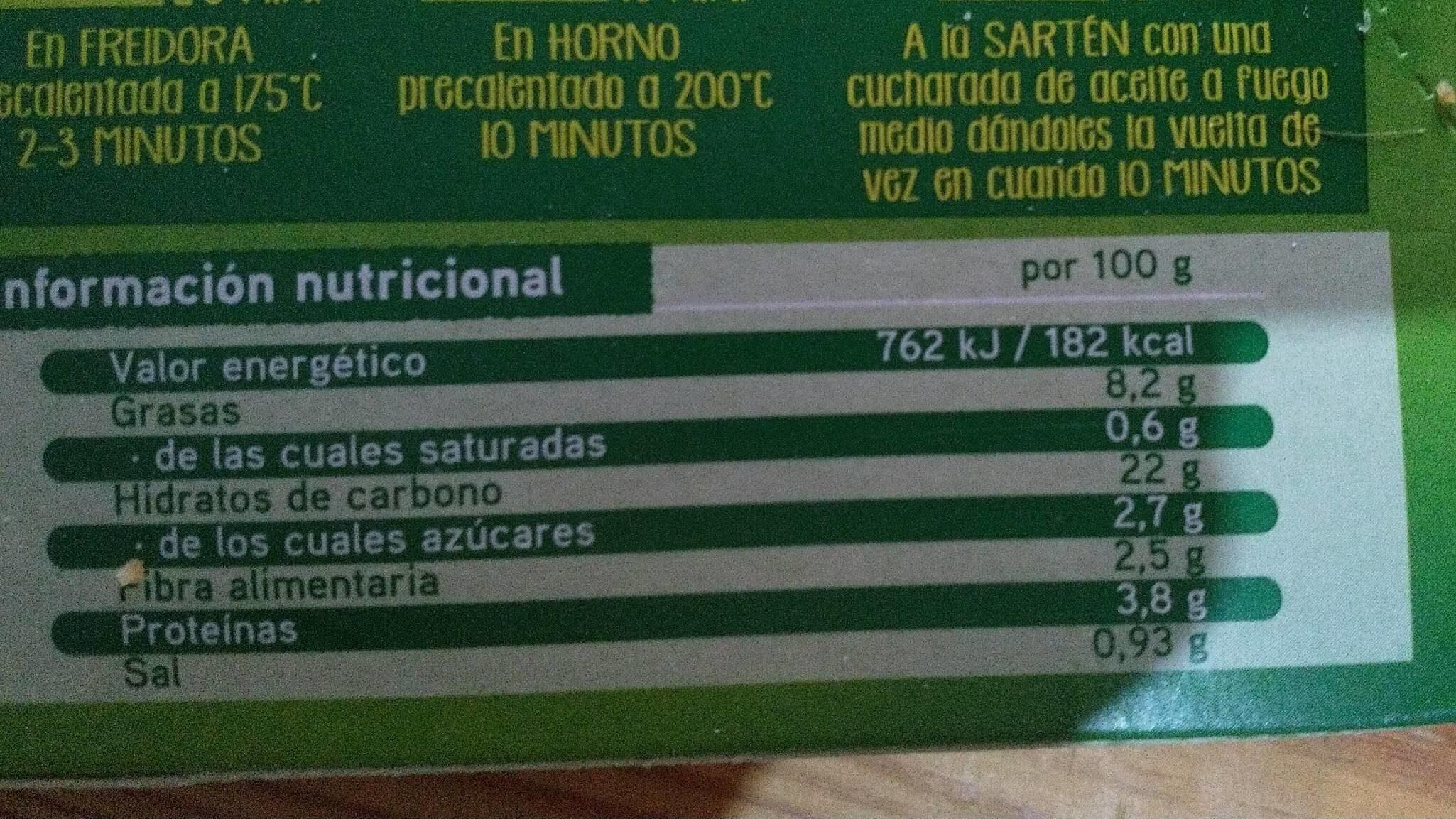 Varitas de verdura - Informations nutritionnelles - es