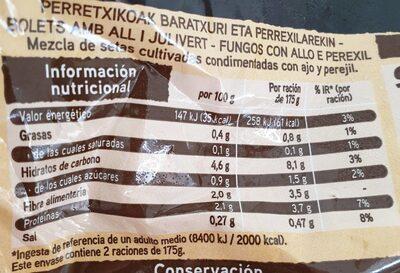 setas con ajo y perejil - Información nutricional - es