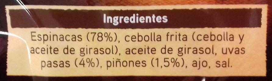 Tradicionales espinacas con pasas y piñones - Ingrediënten - es