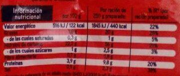 Salto arroz 3 delicias - Informació nutricional