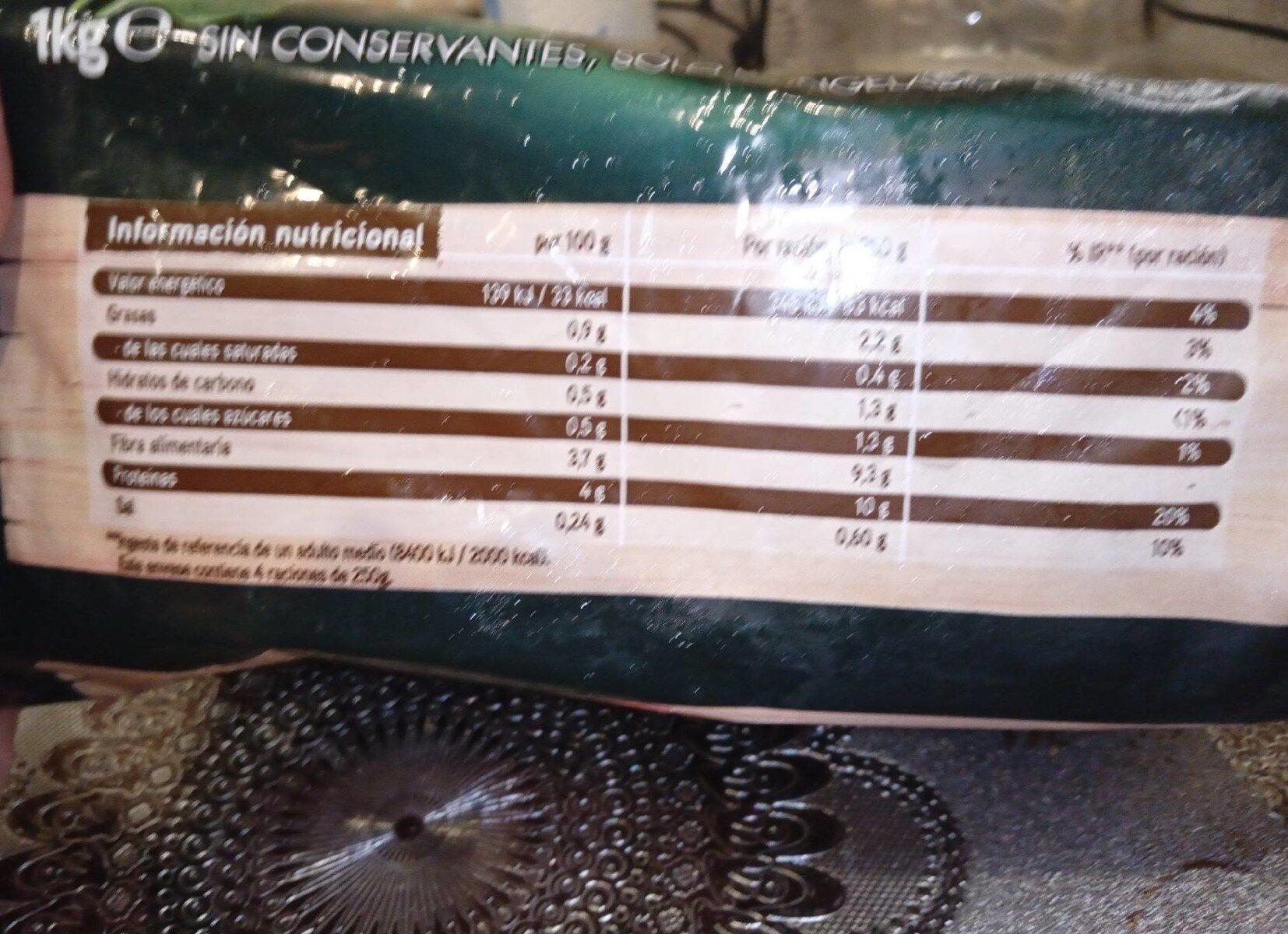 Espinacas en hojas - Informations nutritionnelles - es
