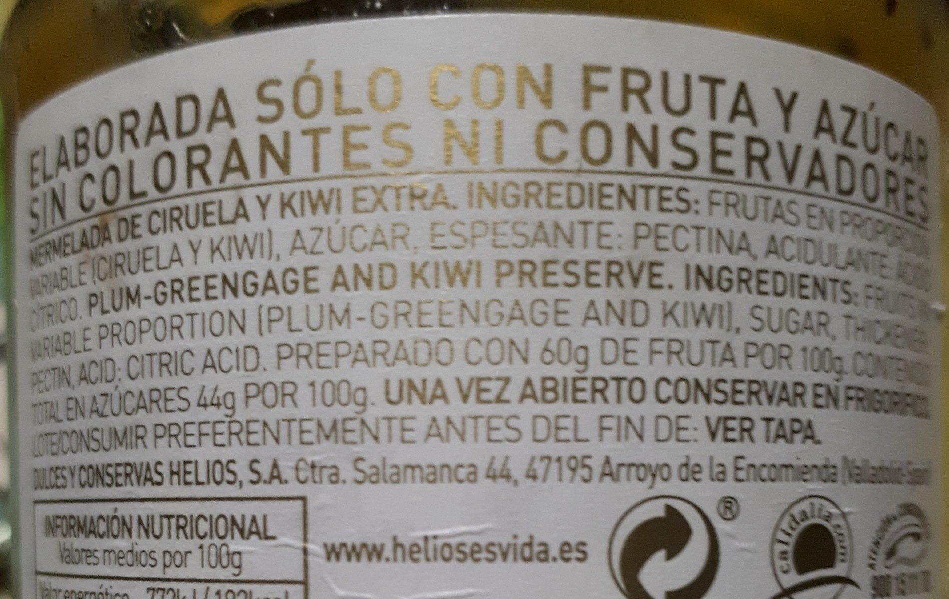 Helios Mermelada Ciruela Kiwi - Ingredients