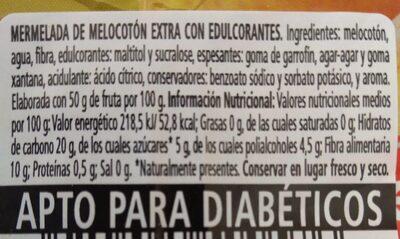 Mermelada de melocotón - Voedingswaarden - es