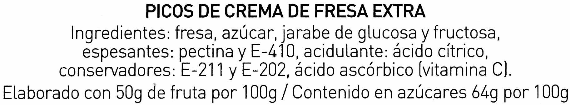 8 Pico's crema de fresa - Ingredientes - es