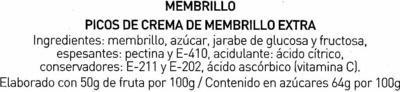 Crema membrillo extra 8 picos caja 170 g - Ingredientes - es