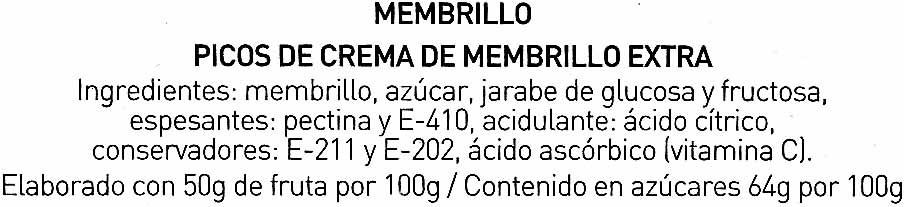 Crema membrillo extra 8 picos caja 170 g - Ingredientes