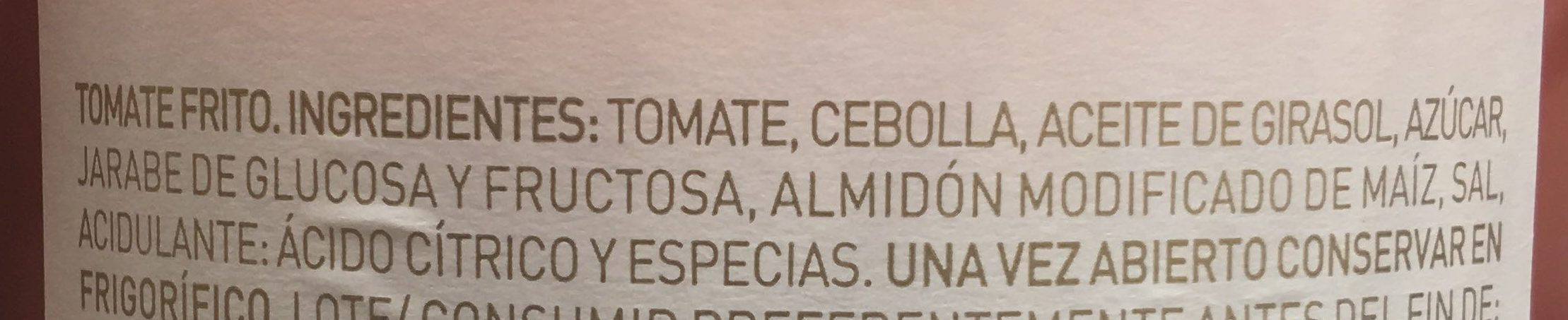 Tomate Frito - Ingrediënten - es