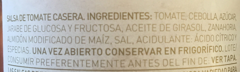 Salsa de tomate - Ingrediënten