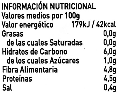 Habas Extrafinas - Información nutricional