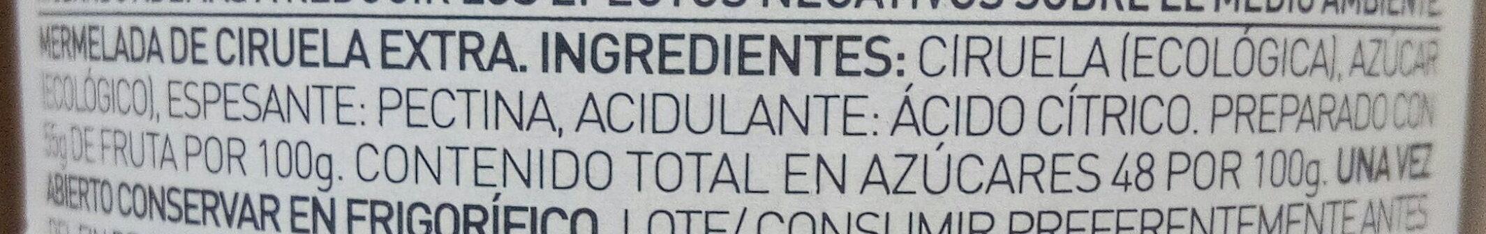 Mermelada de ciruela extra ecológica - Ingredientes