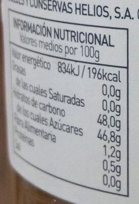 Mermelada de ciruela extra ecológica - Información nutricional