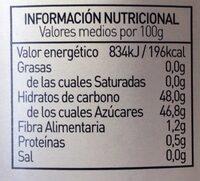 Mermelada de ciruela extra ecológica - Información nutricional - es