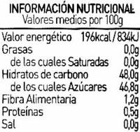 Mermelada de ciruela ecológica - Informació nutricional
