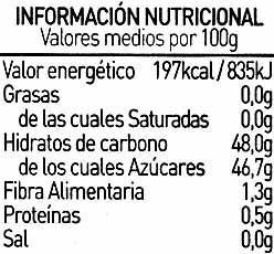 Mermelada de fresa ecológica - Informació nutricional