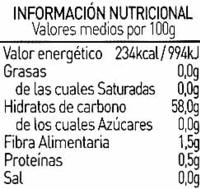 Mermelada de naranja amarga ecológica - Informació nutricional