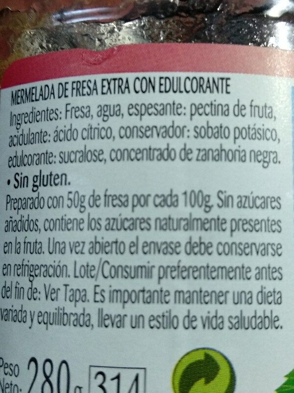 Mermelada fresa diet - Ingredients - es