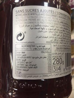 Helios Mermelada Diet Arandano X 280G [] - Información nutricional