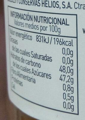 Mermelada de melocotón ecológica - Información nutricional - es