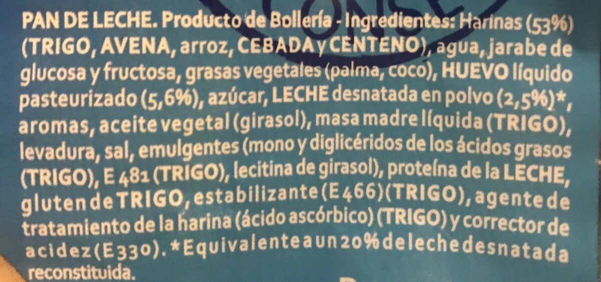 La Bellacaso Pan De Leche Cereales175g - Ingredients - fr