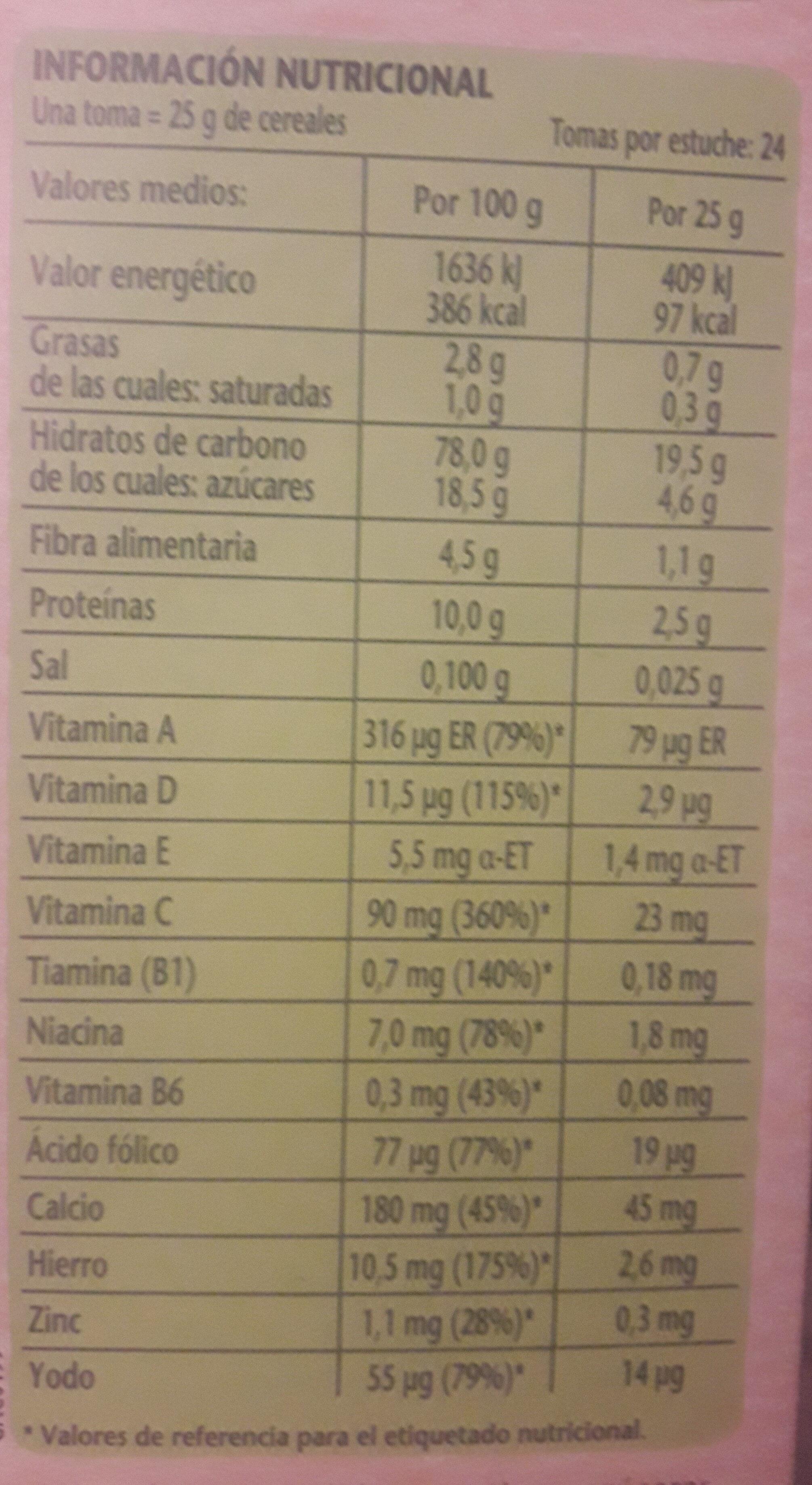 8 cereales con cacao - Información nutricional
