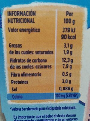 Postre lácteo de fresa sin gluten desde meses - Nutrition facts - es