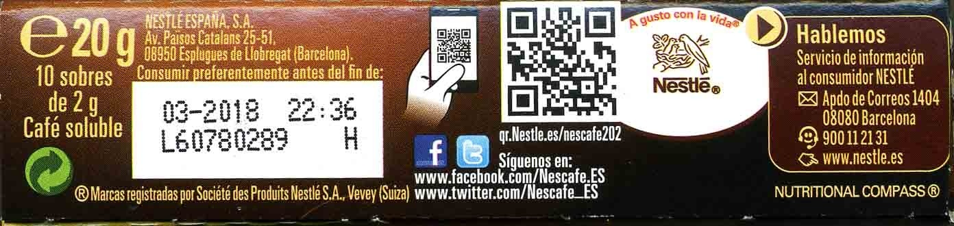 Café Soluble - Información nutricional