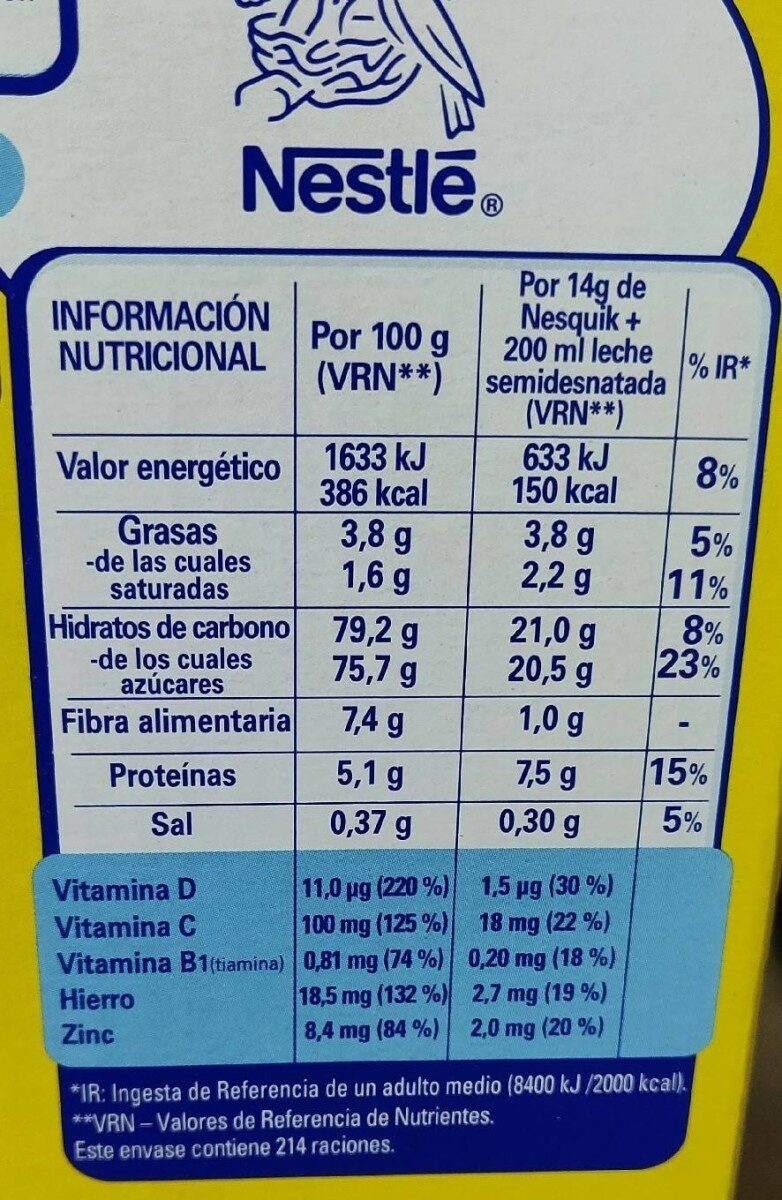 Cacao instantáneo sin gluten siempre con mega regalo - Nutrition facts