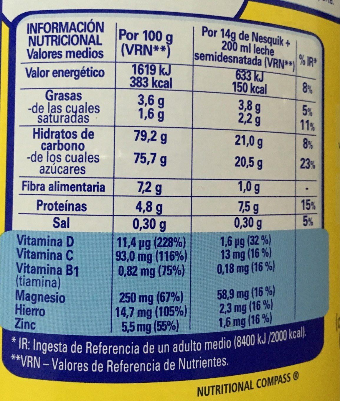 Nesquik 800g - Informations nutritionnelles - es
