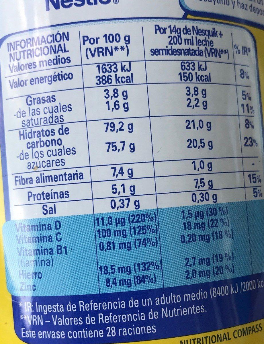Nesquik - Voedingswaarden - es