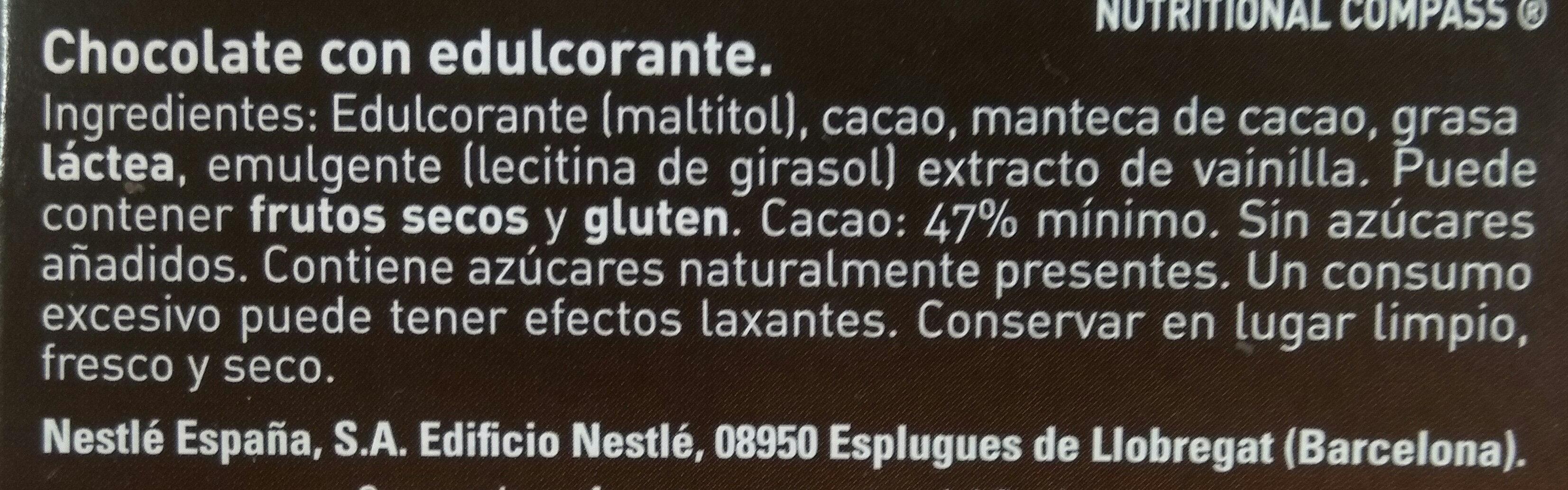 Chocolate Nestlé Negro Sin Azúcar - Ingredients