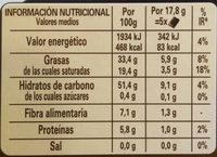 Chocolate Nestlé Negro Sin Azúcar - Información nutricional