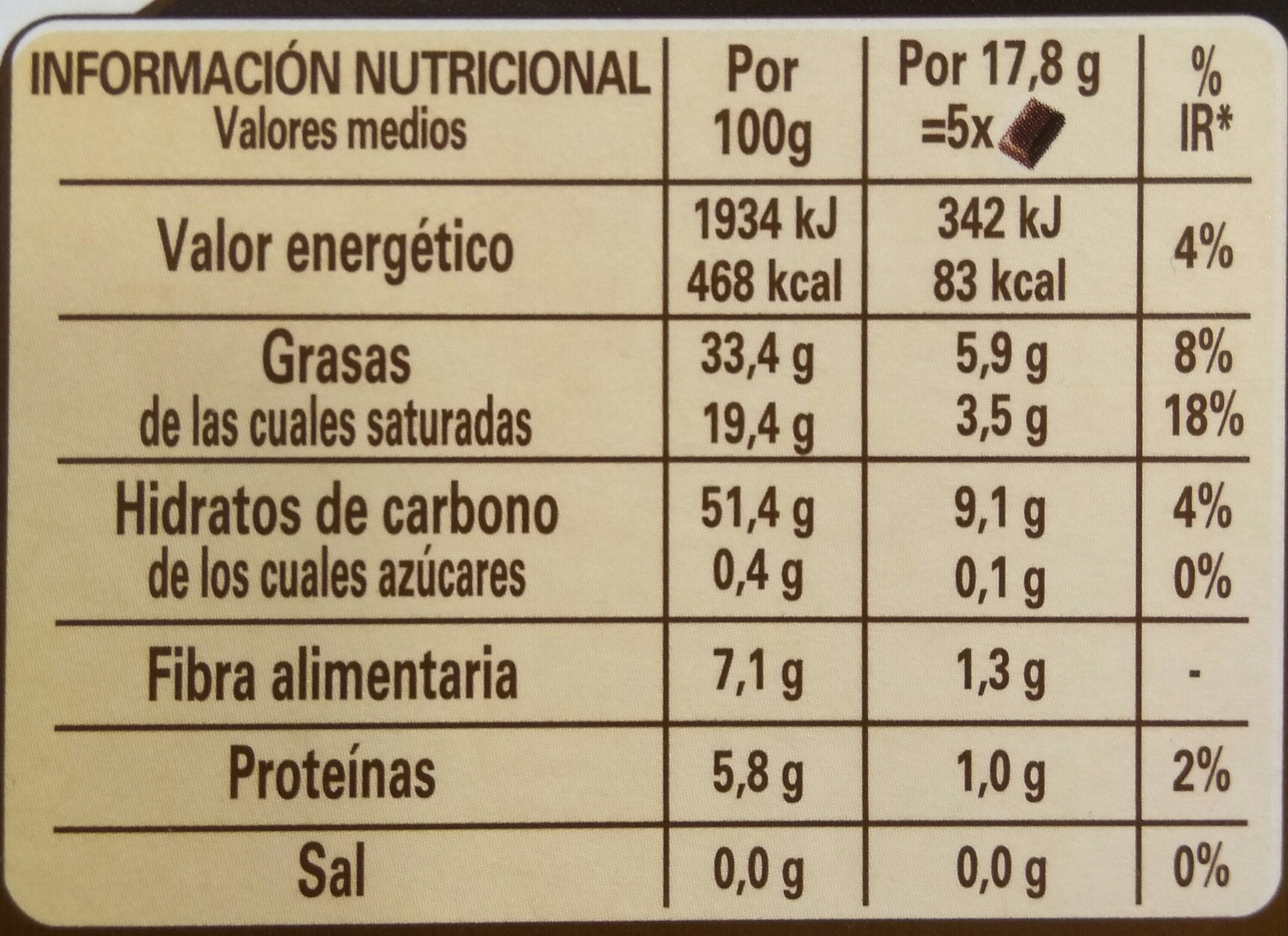 Chocolate Nestlé Negro Sin Azúcar - Informació nutricional
