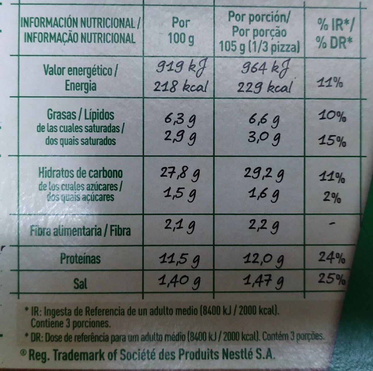 Micro pizza prosciutto - Informations nutritionnelles - es
