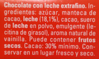 Chocolate con leche fresca y sin gluten - Ingredients - es