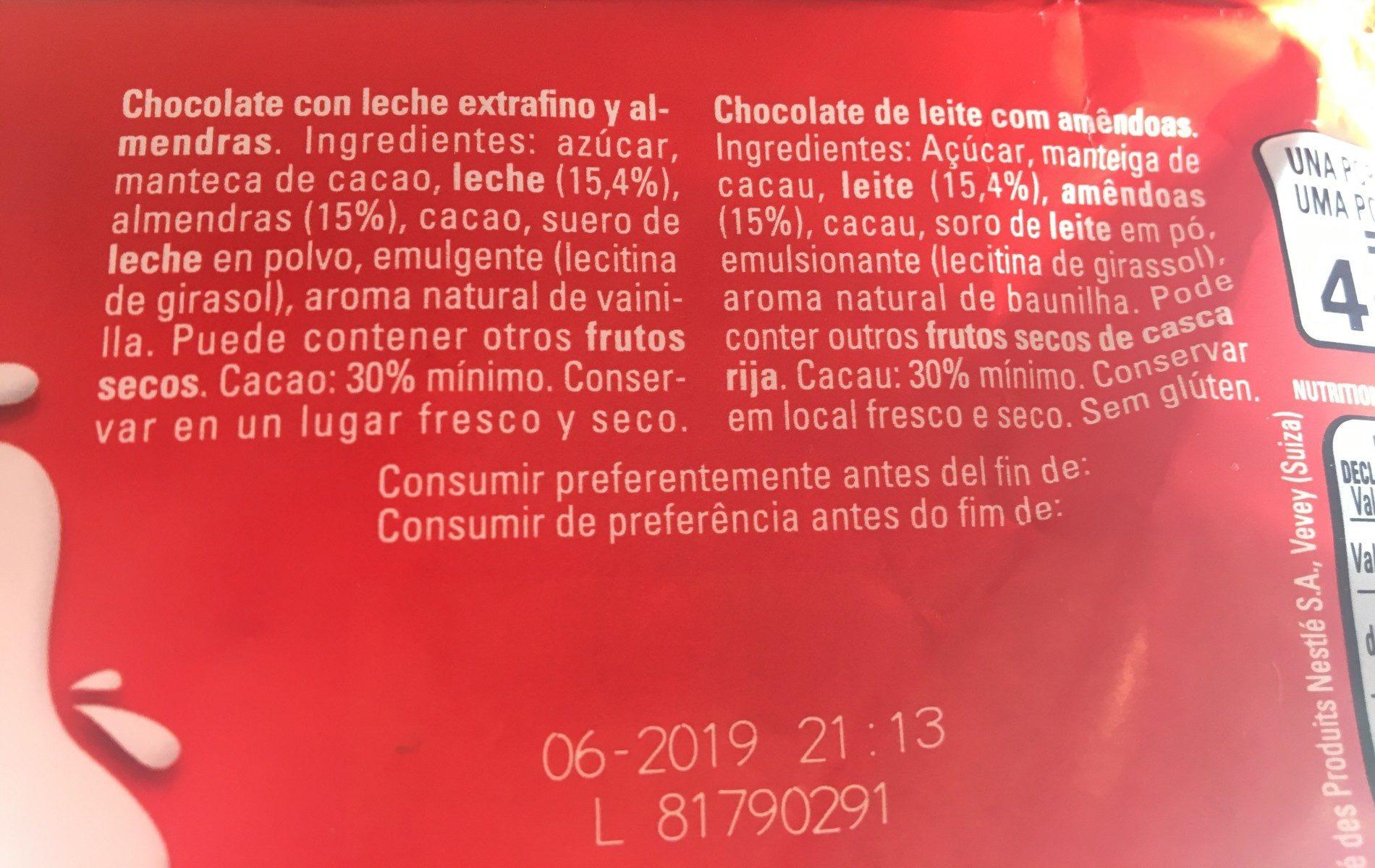 Chocolate con leche extrafino pasión de almendras - Ingredients - es