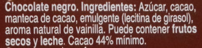 Chocolate negro 44% cacao - Ingredients