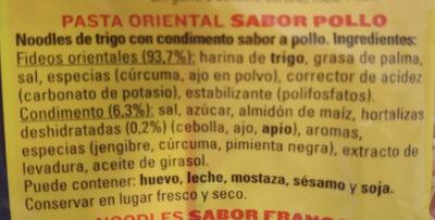 Noodles De Trigo Con Condimento Sabor A Pollo - Ingredients - es