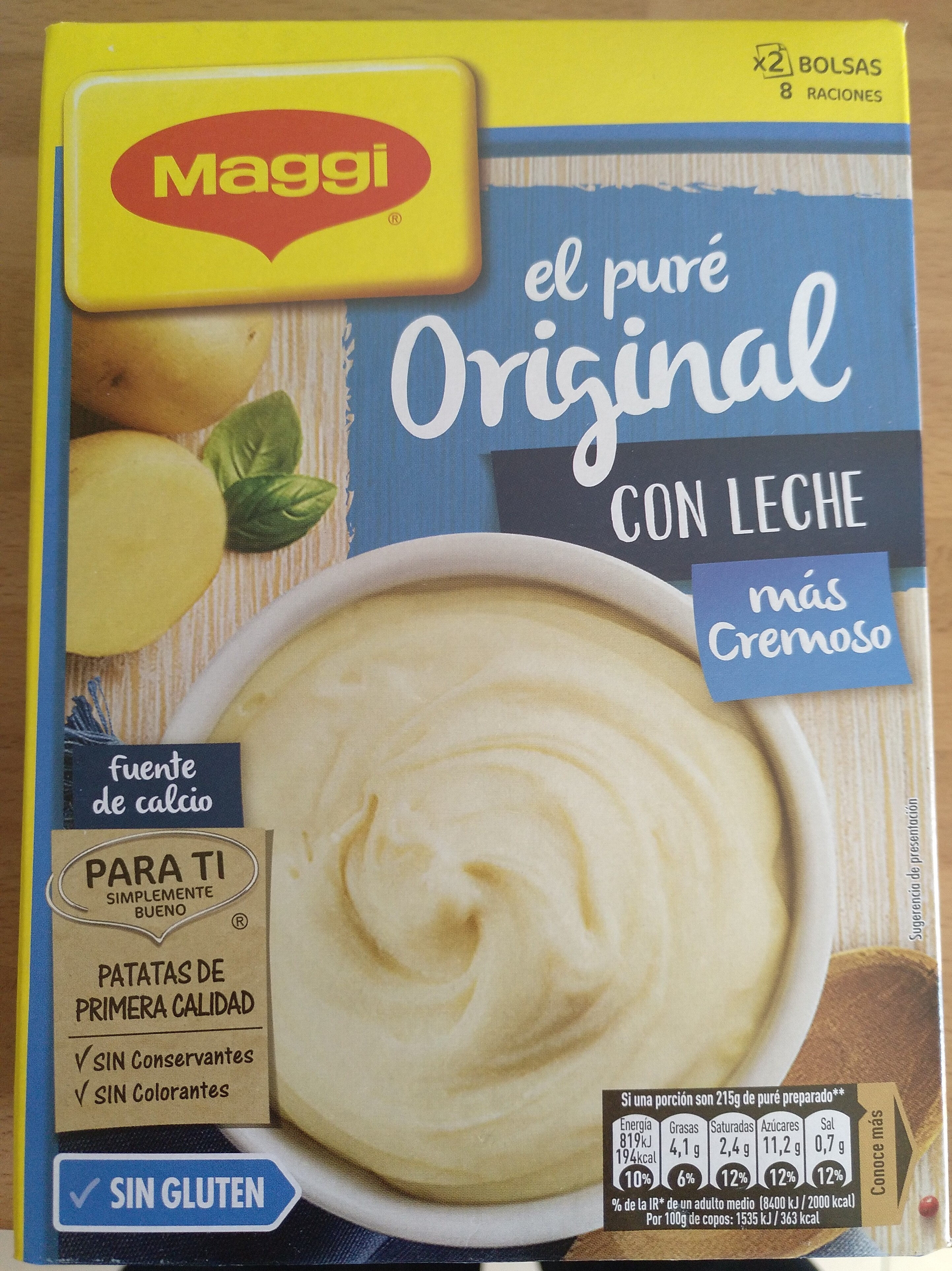 Puré de patata con leche sin gluten estuche 230 g - Producto - es