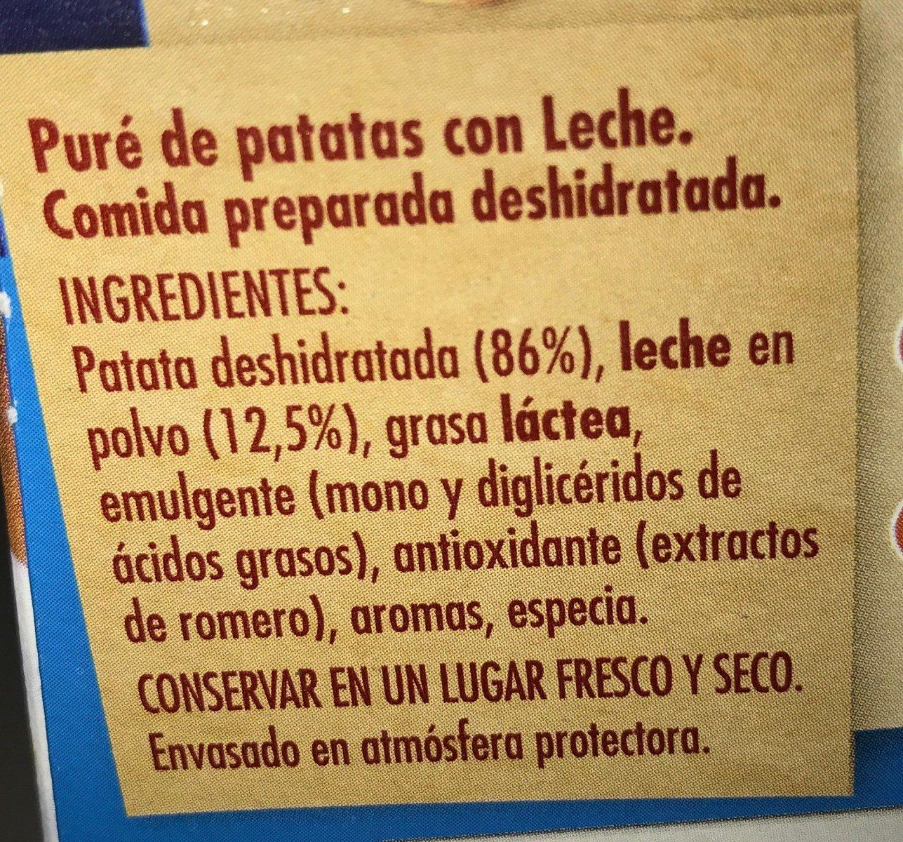 Puré de patata con leche sin gluten estuche 230 g - Ingredientes - fr