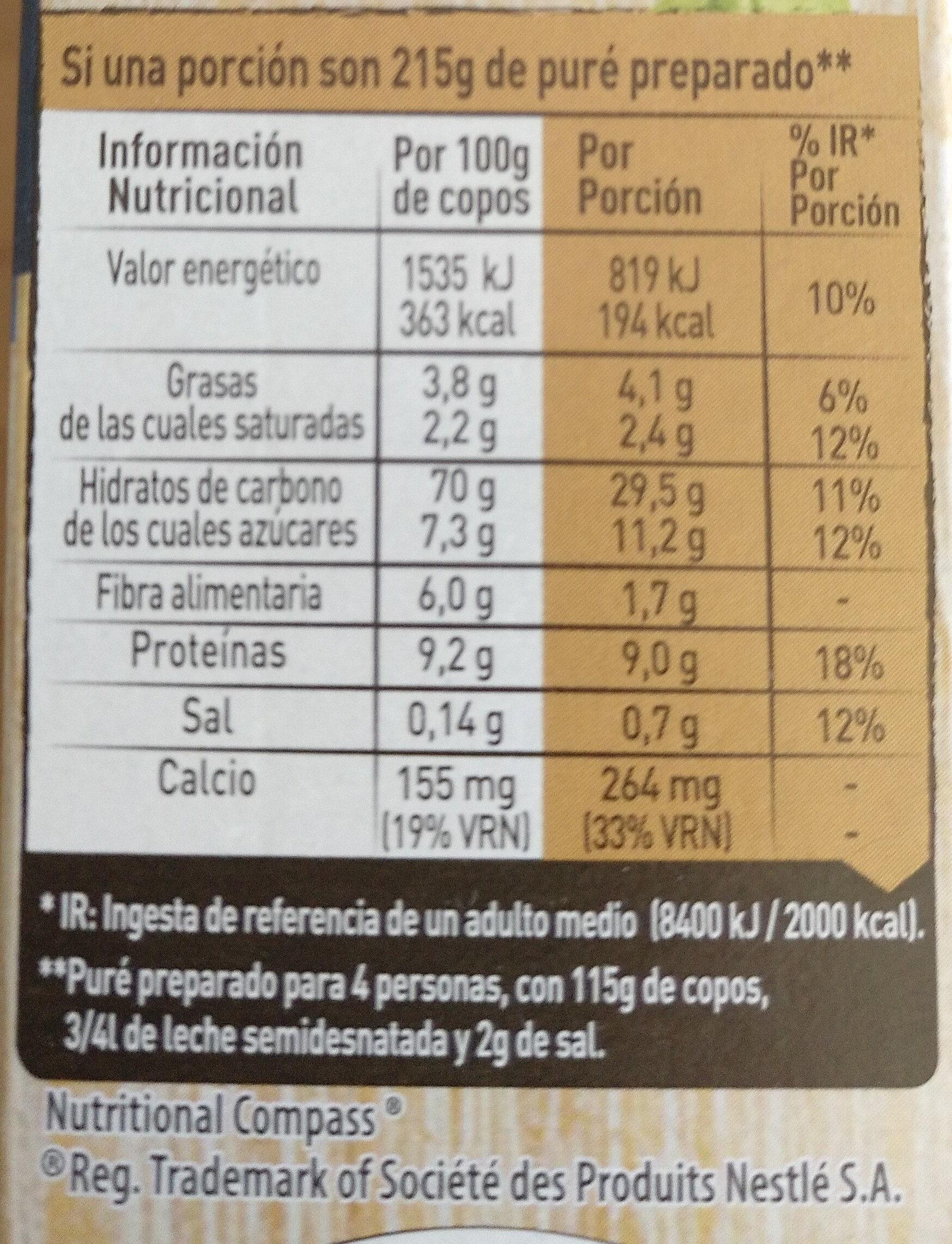 Puré de patata con leche sin gluten estuche 230 g - Información nutricional - es