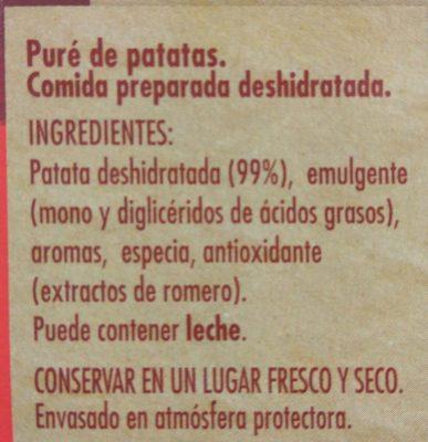 El puré - Ingredientes