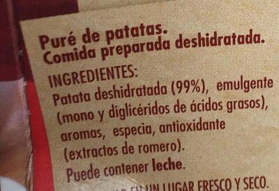 Puré de patata sin gluten - Ingrédients
