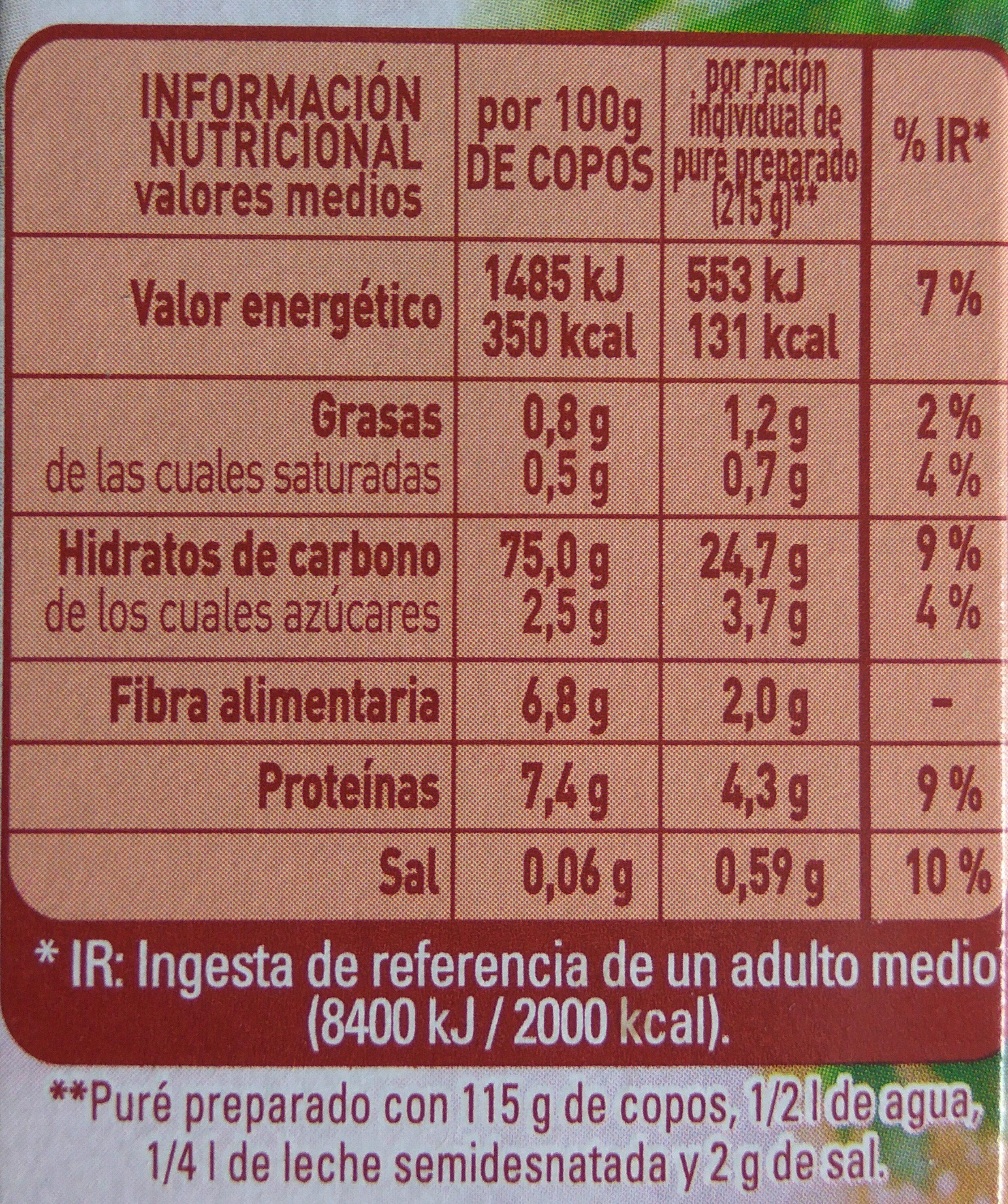 Puré de patata sin gluten - Informations nutritionnelles - es