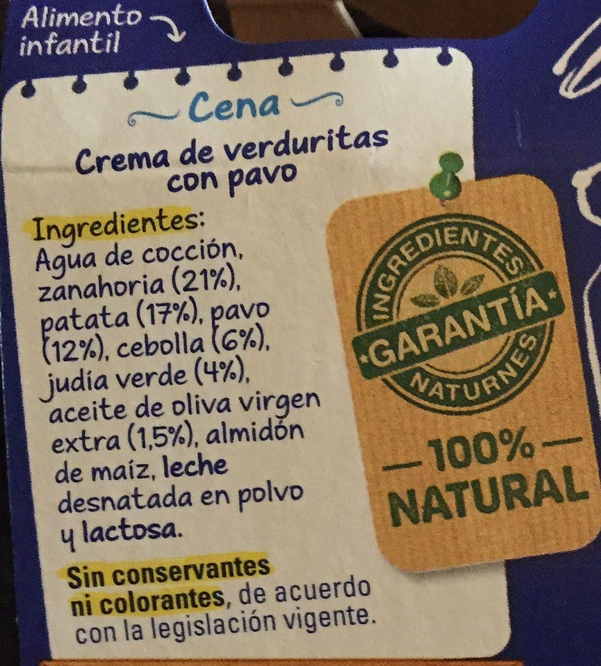 """Tarrito """"Pijama"""" crema de verduritas con pavo - Ingredientes"""